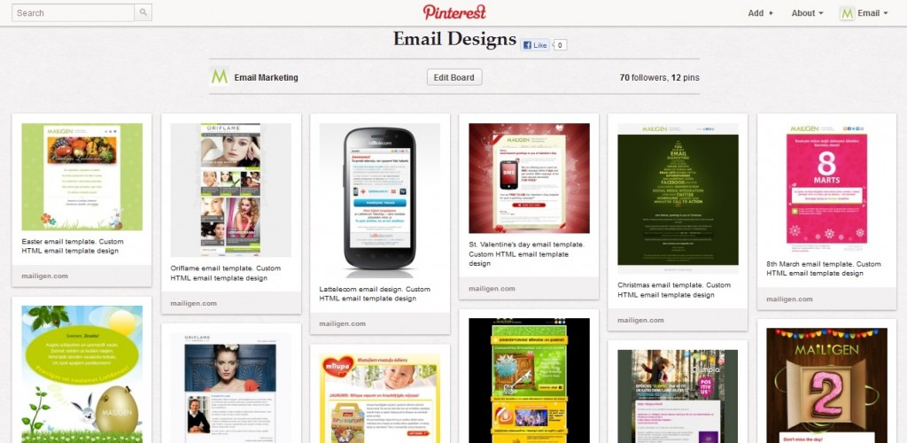 Mailigen email template designs in Pinterest. Source: Mailigen account in Pinterest