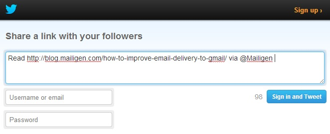 Share email content on Twitter