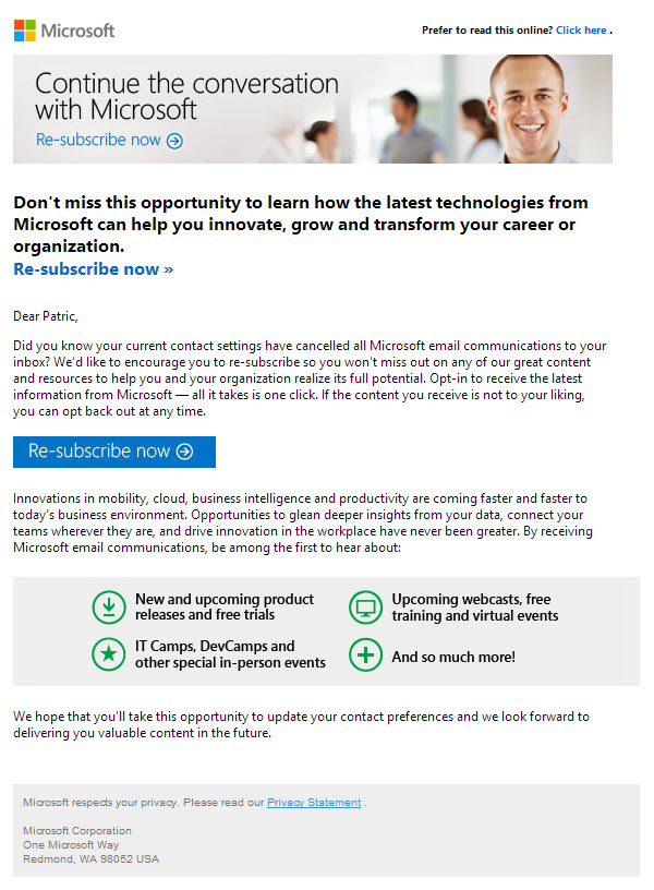 Microsoft resubscribe email